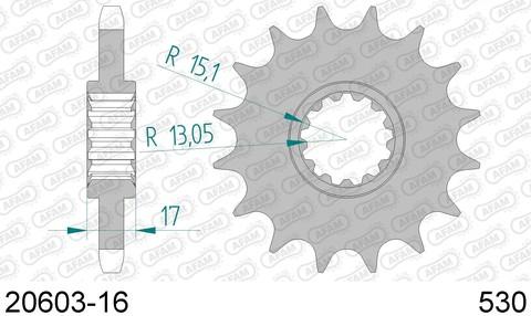 Звезда передняя 20603-16 для HONDA CB 1000, 1300, CBF 1000, CBR 1000, VFR 1000 (ведущая) стальная, 530, AFAM (JTF333.16)