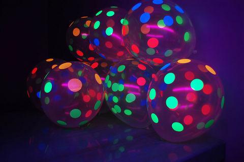 Шары прозрачные кристалл с разноцветными точками (в горох) неон, флюорисцентные, 30 см