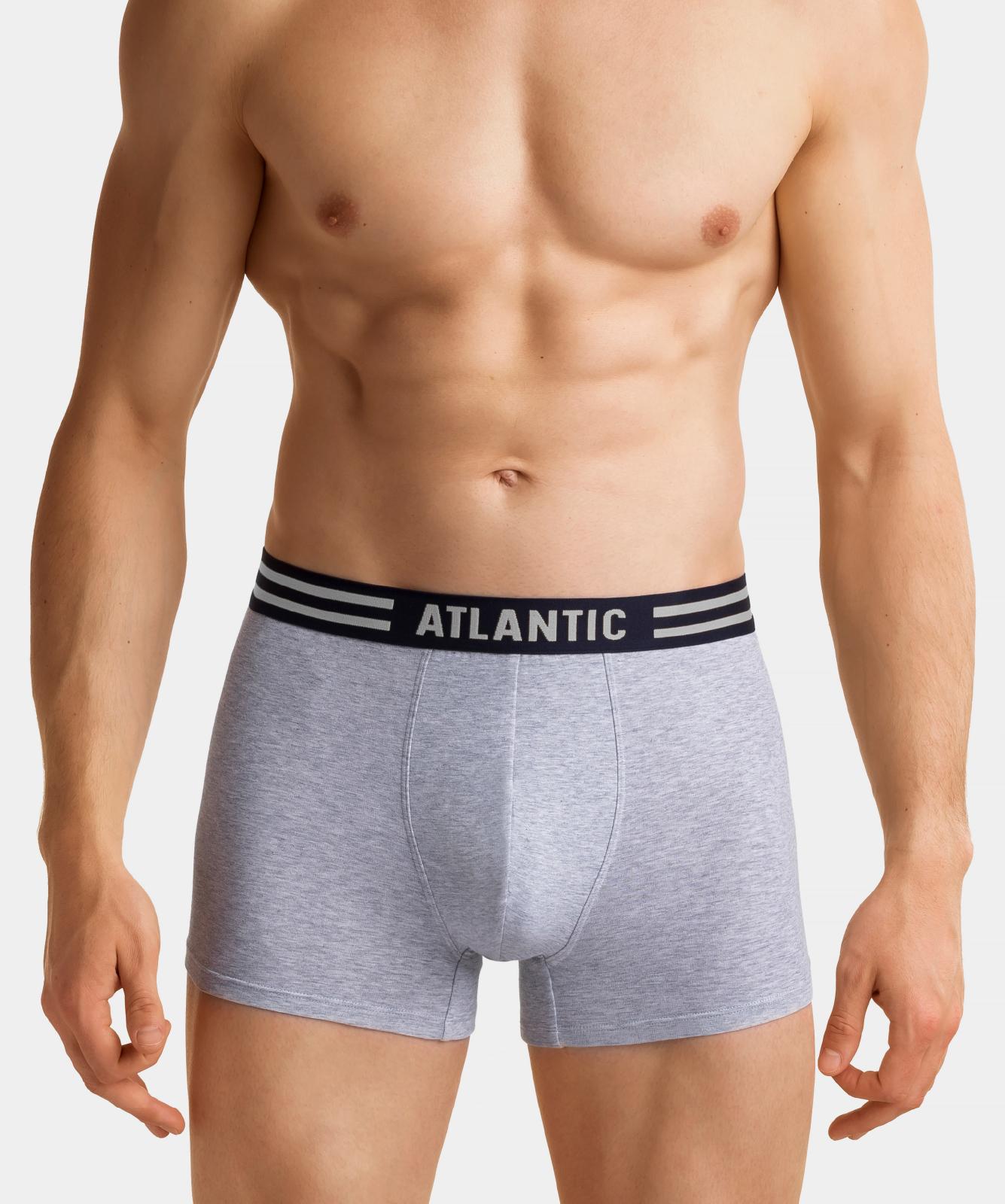 Мужские трусы шорты Atlantic, набор из 3 шт., хлопок, голубые + серый меланж + темно-синие, 3MH-021