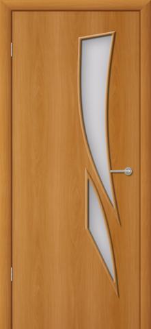 Дверь Фрегат ПО-012 Пламя, матовое, цвет миланский орех, остекленная