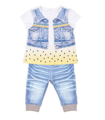 Папитто. Комплект футболка и штанишки для девочки FASHION JEANS