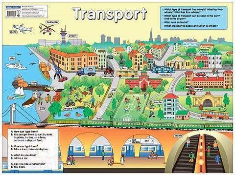 Транспорт. Transport. Наглядное пособие по английскому языку. Наглядные пособия. Плакаты