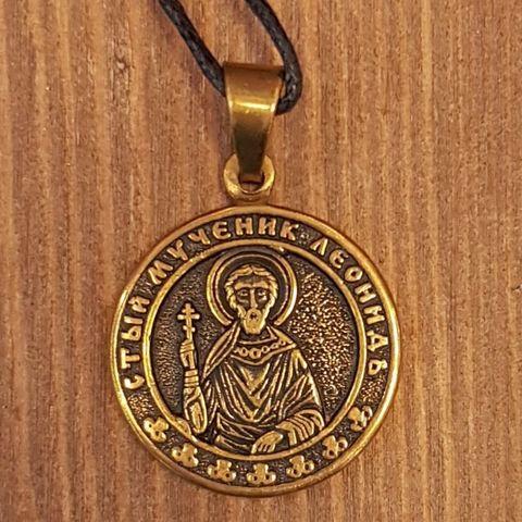 святой Леонид именная нательная икона из бронзы кулон с молитвой