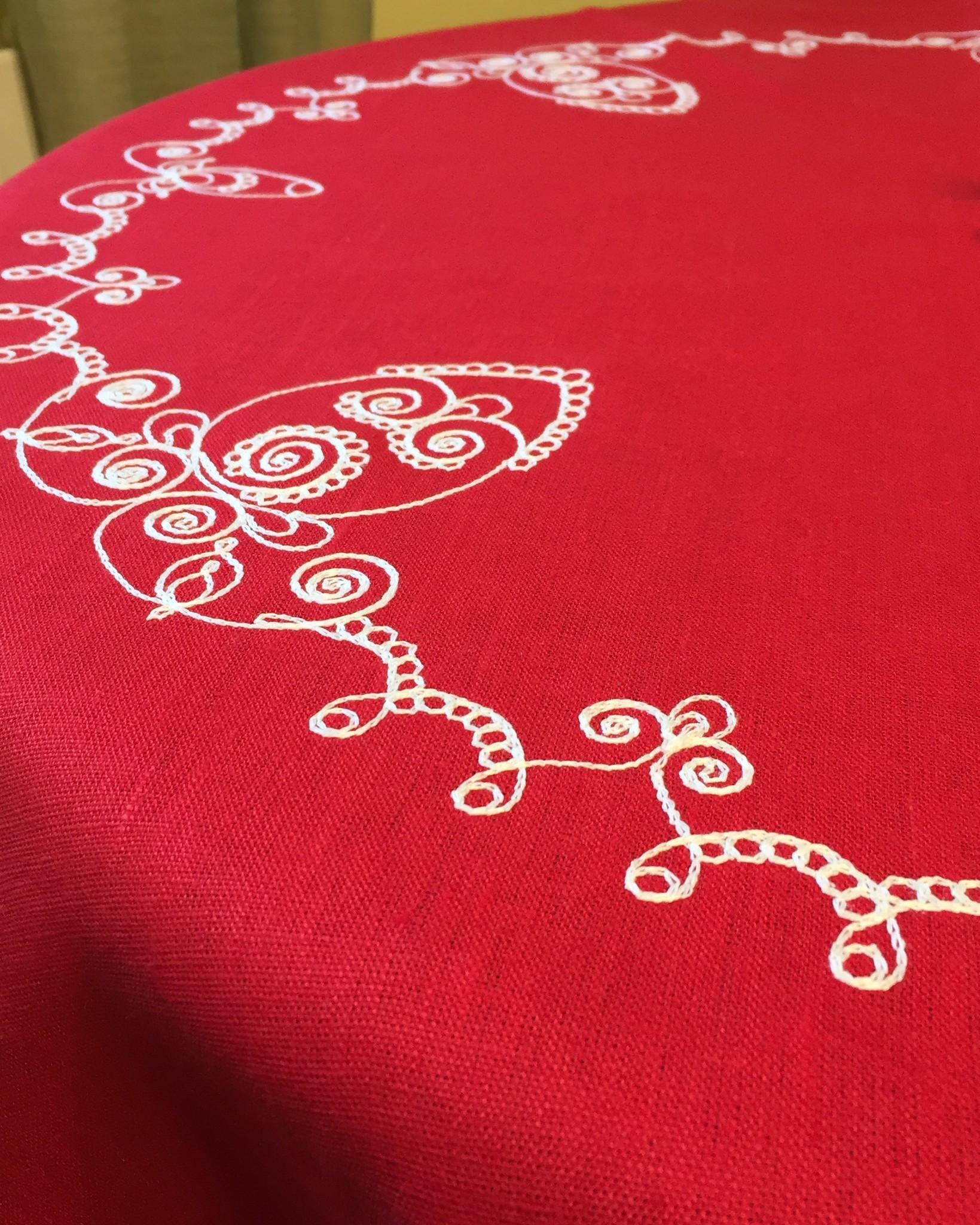 Скатерть круглая пасхальная с вышивкой и кружевом