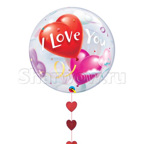 Прозрачный шар бабл с сердцами