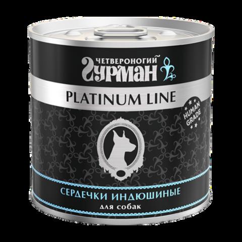 Четвероногий Гурман Platinum Консервы для собак сердечки индюшиные в желе