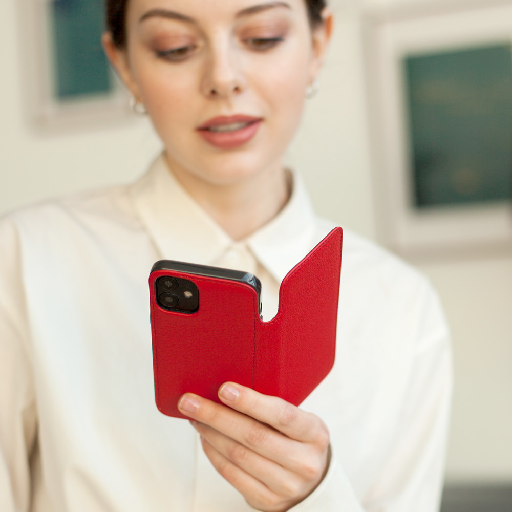 Чехол Benoit для iPhone 12 Mini из натуральной кожи теленка, красного цвета