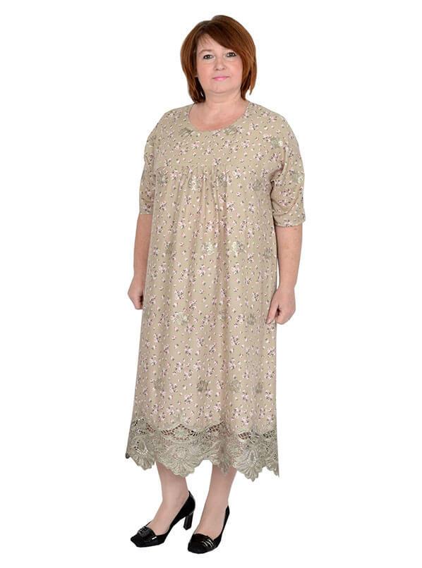 Платье Барышня, цветы на бежевом