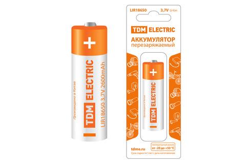 Аккумулятор LIR18650 3,7 В 2600 мА*ч  Li-Ion, с защитой, BP-1, TDM