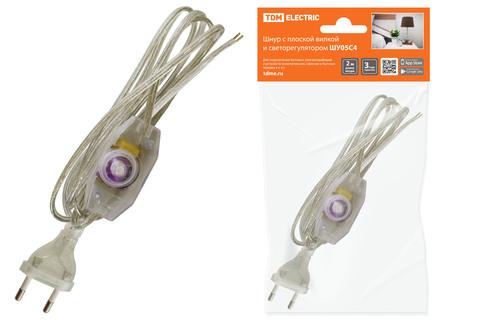 Шнур с плоской вилкой и светорегулятором ШУ05С4 (200Вт, RL) ШВВП 2х0,75мм2 2м. прозрачный TDM