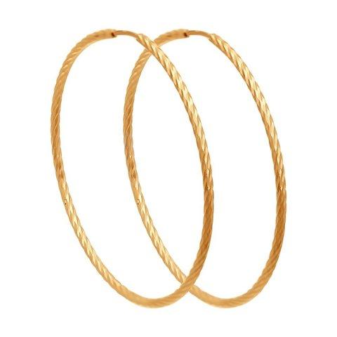 140146 - Серьги-конго Ø25 мм из золота 585 пробы с алмазными гранями