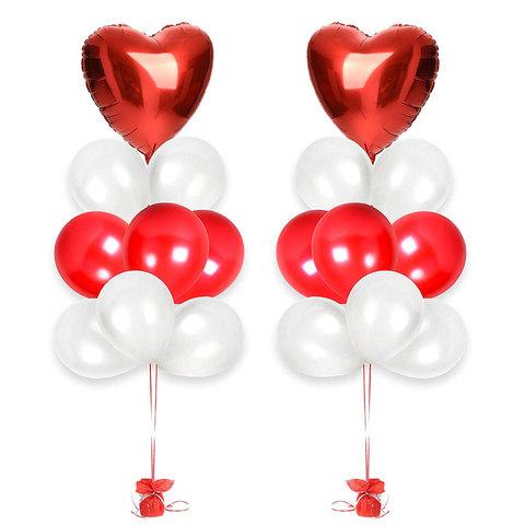 Фонтаны из воздушных шаров с гелием Красно-белые с сердцами