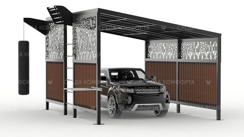 Навес для автомобиля с элементами спортивной площадки AVNVS0047