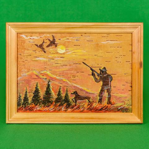 Картина на бересте Охота с ружьем