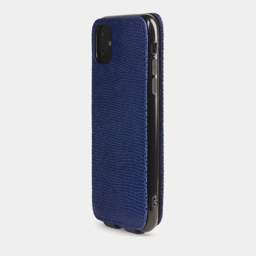 Special order: Чехол для iPhone 11 из натуральной кожи ящерицы, синего цвета
