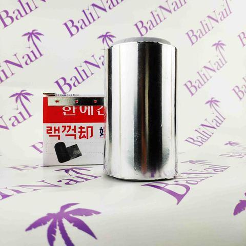 Фольга толстая алюминиевая для парикмахерских работ, с отрывным ножом 30 мкр, 10 см * 30 м