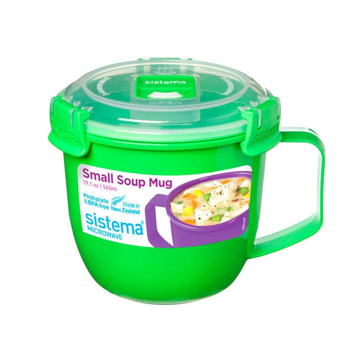 """Кружка суповая для СВЧ Sistema """"Microwave"""" 565 мл, цвет Зеленый"""