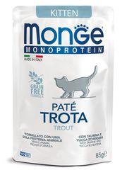 Паучи для котят, Monge Cat Monoprotein Pouch, с форелью