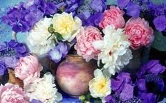 Алмазная Мозаика + Багет 30x40 Пионы среди фиолетовых цветов