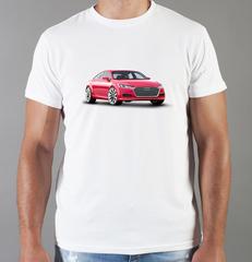 Футболка с принтом Ауди (Audi) белая 005