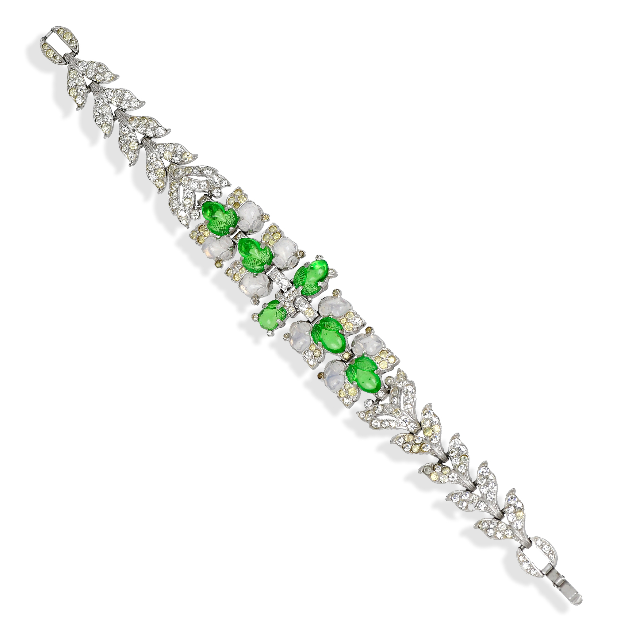 Trifari 'Alfred Philippe' Rhinestones and Green Fruit Salads Bracelet