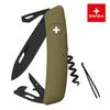 Швейцарский нож SWIZA D03 AllBlack, 95 мм, 11 функций, темно-зеленый (подар. упак.)