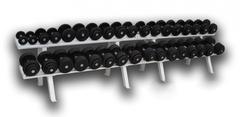 Гантельный ряд обрезиненный, от 3,5 до 46кг, шаг 2,5 кг (18 пар), в комплекте со стеллажом.