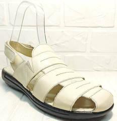 Белые босоножки сандали мужские кожаные. Летние босоножки мужские сандали с закрытым носком Etor White leather.