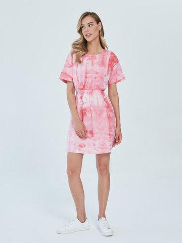 Платье для кормящих пояс-резинка Тай-дай Розов/Бел