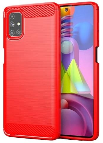 Красный чехол в стиле карбон на Samsung Galaxy M51, серия Carbon от Caseport