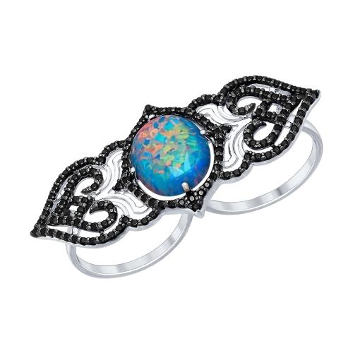 Cеребряное кольцо с синтетическим опалом и фианитами