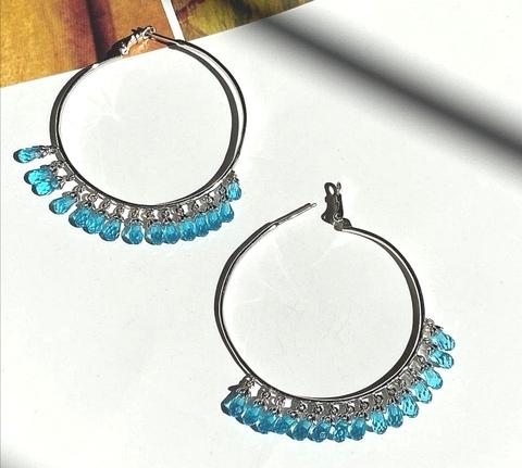 168/020- Серьги-кольца Drop из серебра с голубыми подвесками каплями