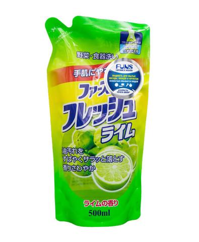 Daiichi Funs Жидкость для мытья посуды, овощей и фруктов Свежий лайм 500 мл сменный блок