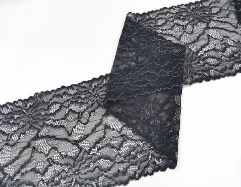 Эластичное кружево, 20 см, черное с серебристой кордовой нитью, м, (Арт: EK-2295), м