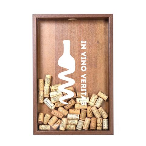 Копилка для винных пробок In Vino Veritas (белая надпись) Орех