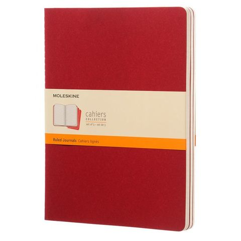 Блокнот Moleskine CAHIER JOURNAL CH121 XLarge 190х250мм обложка картон 120стр. линейка клюквенный (3шт)