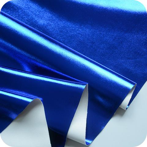 Кожзам метализированный на тканевой основе, цвет синий