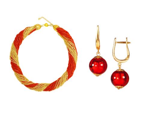 Комплект украшений золотисто-красный (серьги-бусины, ожерелье из бисера 48 нитей)