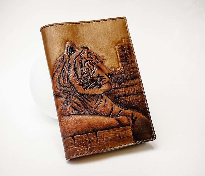 BC196 Кожаный подарочный ежедневник «Тигр», ручной рисунок (A5)