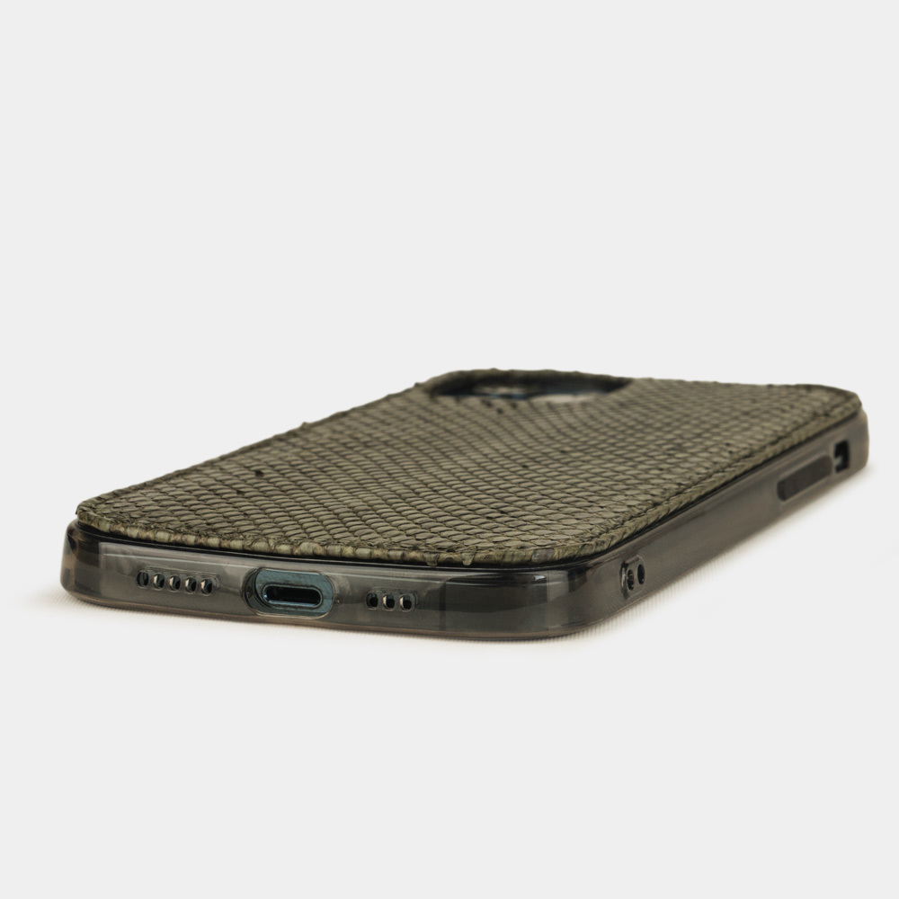 Чехол-накладка для iPhone 12 Pro Max из натуральной кожи питона, зеленого цвета