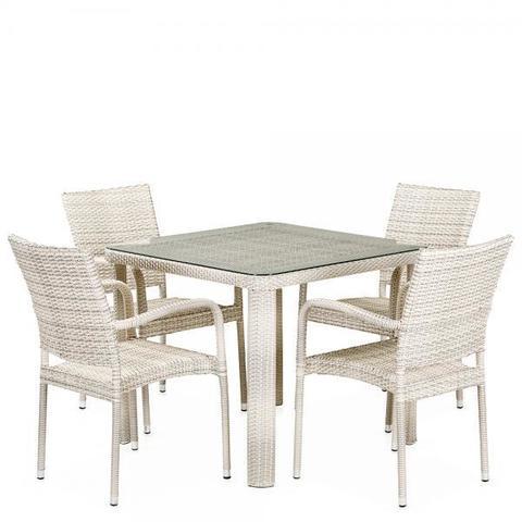Комплект плетеной мебели из искусственного ротанга T341A/Y376A-W85-90x90 4Pcs Latte