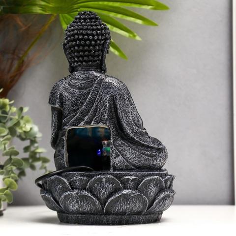 Фонтан настольный от сети, подсветка Серый Будда с шаром, 30х19х19 см