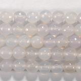Нить бусин из агата белого, фигурные, 6 мм (шар, граненые)