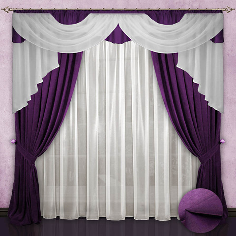 Комплект штор с ламбрекеном и тюлем  Виладжио фиолет