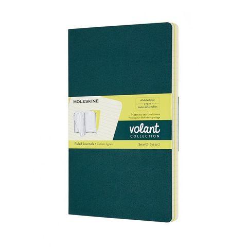 Блокнот Moleskine VOLANT QP721K31M20 Large 130х210мм 96стр. линейка мягкая обложка зеленый/желтый цитрон (2шт)