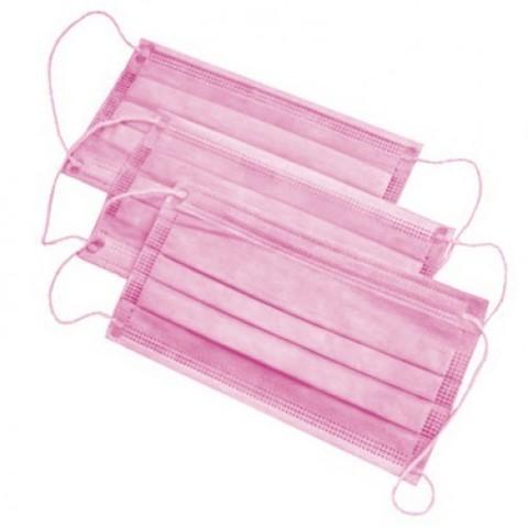 Маска медицинская 3 слоя, розовая (50шт)