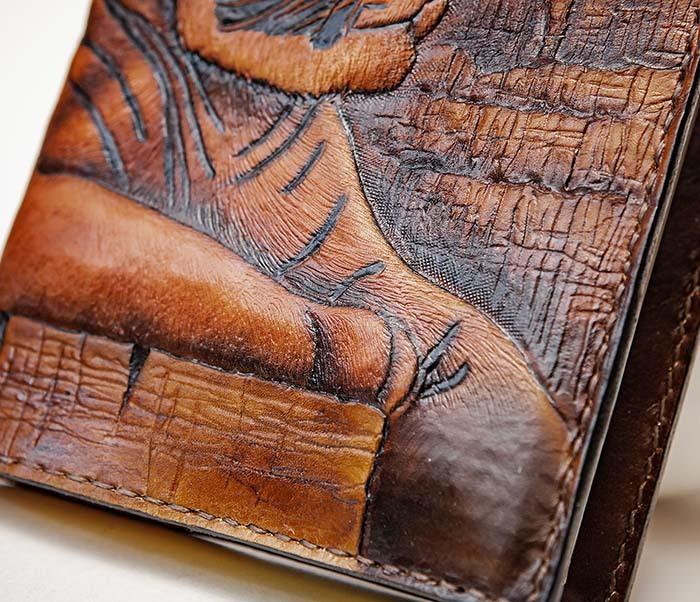 BC196 Кожаный подарочный ежедневник «Тигр», ручной рисунок (A5) фото 04