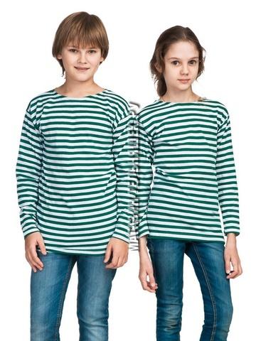 Купить детскую тельняшку фпс - Магазин тельняшек.ру 8-800-700-93-18Тельняшка детская пограничная (зеленая полоса) в Магазине тельняшек