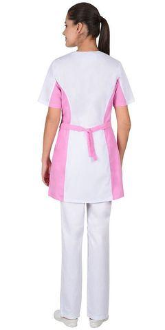 Блуза  женская белая с розовым