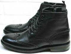 Ботинки зимние мужские натуральная кожа натуральный мех  LucianoBelliniBC3801L-Black .